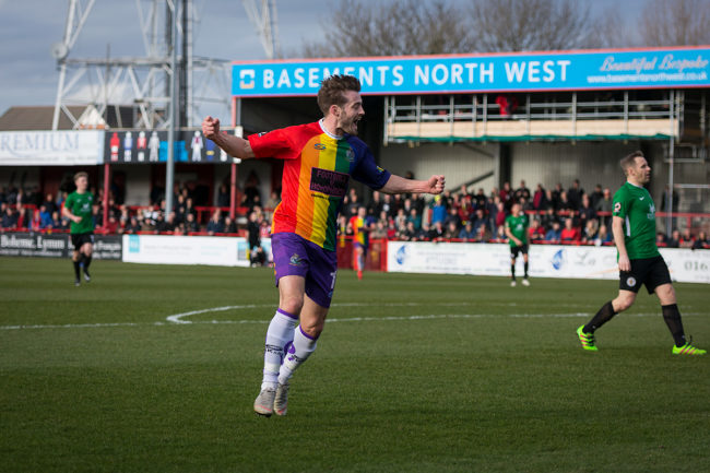 An Altrincham FC wearing an LGBT inspired kit to tackle homophobia in football