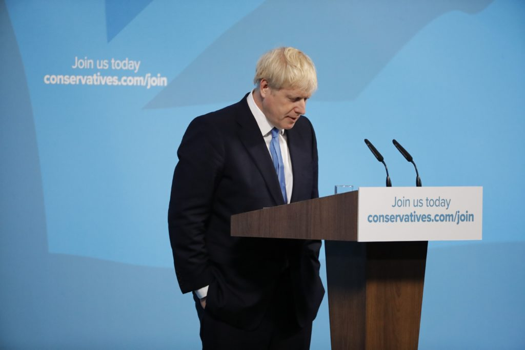 New Conservative Party leader and incoming prime minister Boris Johnson gives a speech at an event to announce the winner of the Conservative Party leadership contest in central London on July 23, 2019.