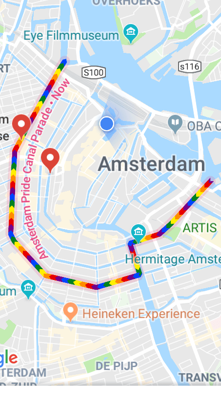 Amsterdam Pride Canal Parade Route