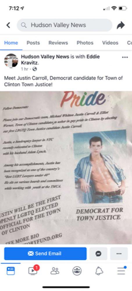 Justin Carroll, Clinton, New York, antigay flier