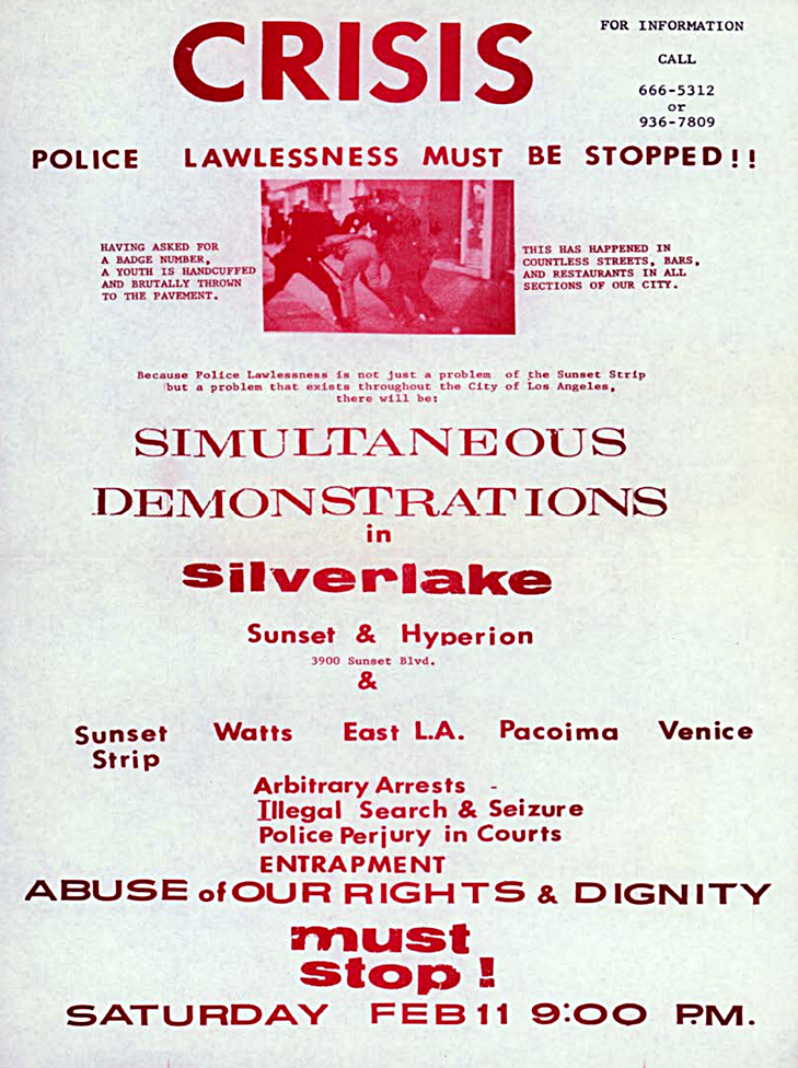 A flier detailing a protest after the Black Cat raid.